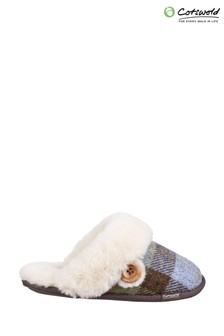 Cotswold Blue Syerford Slip-On Slippers