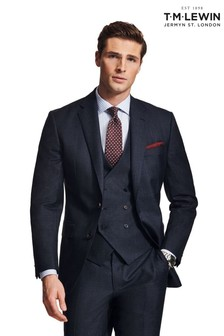 T.M. Lewin Gracechurch Woven In Italy Slim Fit Navy And Blue Gingham Jacket