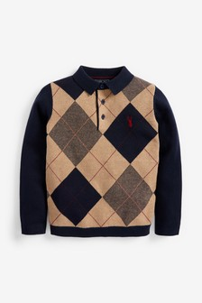 Argyle Pattern Knitted Polo Shirt (3-16yrs)