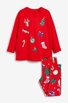 Christmas Appliqué Oversized T-Shirt with Christmas Wrap Leggings (3-16yrs)