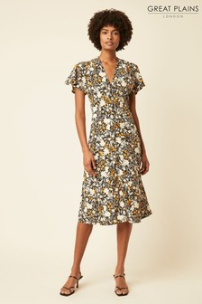 Great Plains Orange Verbena Floral Midi Dress