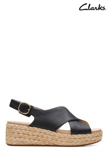 Clarks Black Leather Kimmei Cross Sandals