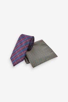 Check Tie And Geometric Pocket Square Set