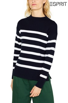 Esprit Blue Knitted Jumper With Turtle Neck