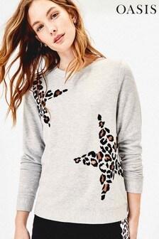 Oasis Grey Animal Star Sweater