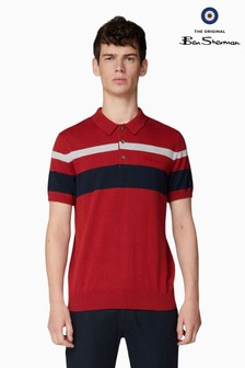 Ben Sherman Red Chest Stripe Knitted Polo