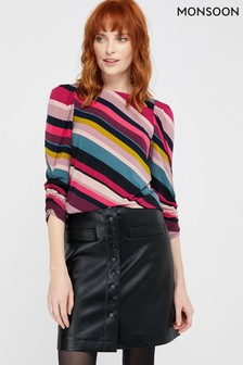 Monsoon Multi Sonique Stripe Jersey 3/4 Sleeve Top