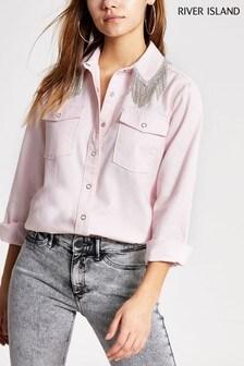 River Island Pink Bright Diamanté Fringe Shirt