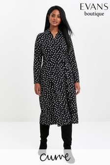 Evans Curve Black Heart Print Shirt Dress