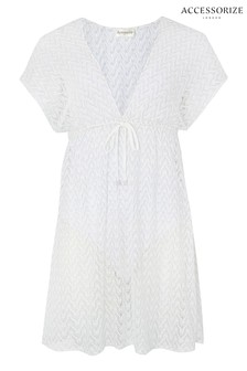 Accessorize White Shimmer Lace Tabard Dress