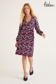 Boden Blue Elodie Jersey Wrap Dress
