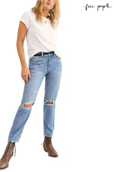 Free People Light Wash Distressed Knee Straight Leg Jeans