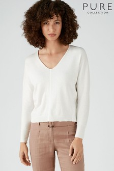 Pure Collection White V-Neck Dolman Sleeve Sweater