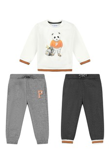 Baby Boys Ivory/Grey Tracksuit Set