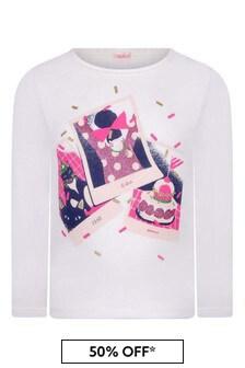 Girls Ivory Cotton Jersey T-Shirt