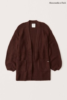 Abercrombie & Fitch Burgundy Puff Sleeve Cardigan