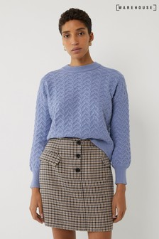 Warehouse Blue Zig Zag Stitch Boxy Jumper