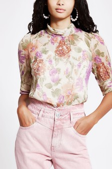 River Island Purple Light Floral Embellished Top