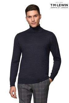 T.M. Lewin Clifford Supima® Cotton Silk Slim Fit Navy Roll Neck Jumper