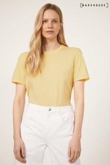 Warehouse Yellow Casual Plain T-Shirt