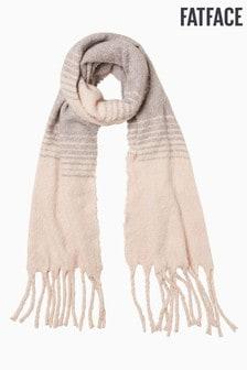 FATFACE大地色磨毛條紋毛圈織布圍巾