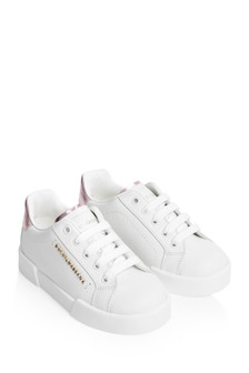Girls White And Pink Leather Trainers