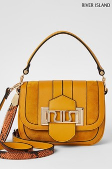 River Island Yellow Dark Curve Satchel