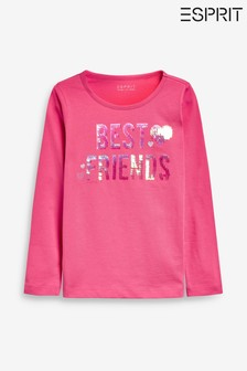 Esprit Pink Sequin Best Friends Long Sleeve T-Shirt