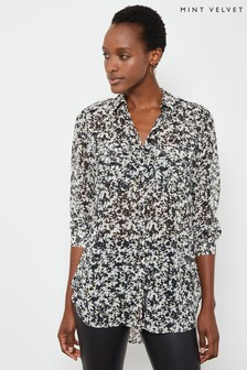 Mint Velvet White Bonnie Print Longline Shirt