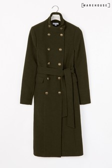 معطف خفيف طويل أخضر من Warehouse