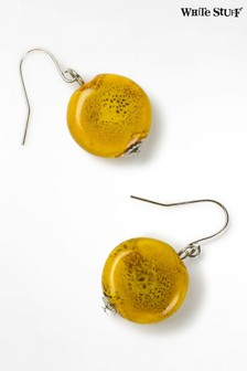 White Stuff Yellow Ceramic Disc Earrings