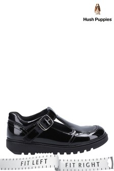 Hush Puppies Black Kerry Patent Junior School Shoes