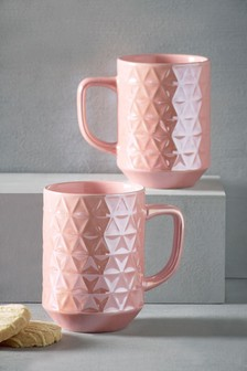 Set of 2 Faceted Mugs
