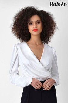 Ro&Zo White Satin Puff Sleeve Bodysuit