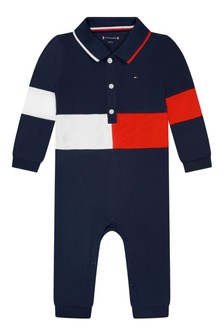 Baby Boys Navy Cotton Flag Coverall