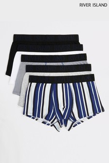 River Island Blue Chevron Hipsters 5 Pack