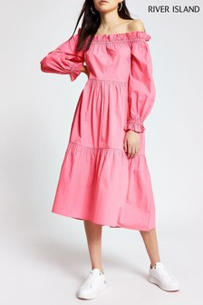 River Island Pink Bright Bardot Puff Dress