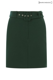 Warehouse Green Belted Pelmet Mini Skirt