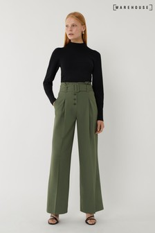 Warehouse Green Belted Wide Leg Trousers