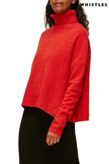 Whistles Red Roll Neck Flecked Wool Knit Jumper