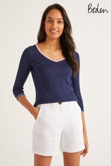 Boden Blue Cornelia Linen V-Neck T-Shirt