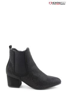 Heavenly Feet Wave2 Black Diamanté Ankle Boots
