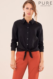 Pure Collection Black Linen Tie Hem Shirt