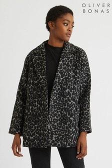 Oliver Bonas Grey Leopard Print Coat