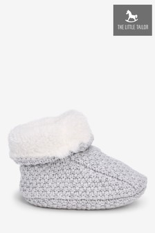 The Little Tailor Grey Knitted Plush Lined Booties