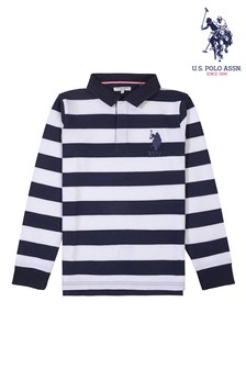 U.S. Polo Assn. Blue Bold Stripe Rugby Top