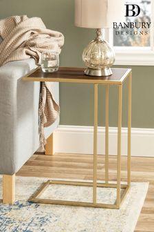 Banbury Designs Walnut/ Gold Modern End Table  Dar
