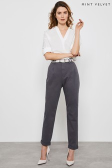 Mint Velvet Grey High Waisted Trousers