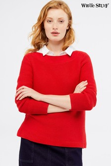 White Stuff Red Cote Textured Jumper
