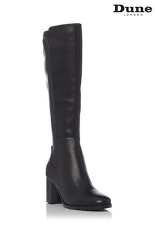 Dune London Titain Stretch Cleated Knee High Block Heel Boots